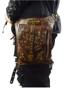 Steampunk Dark Brown Rivet Outdoors Multi-function Men's Inclined Shoulder Bag