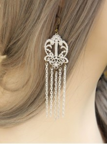Retro White Lace Gothic Tassel Earrings