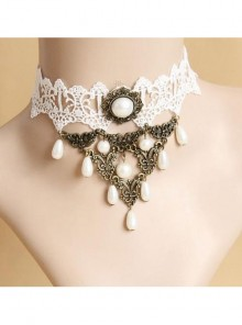 Retro Palace Style White Lace And Pearl Gothic Necklace