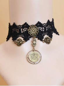 Black Lace Rose Pendant Gothic Necklace