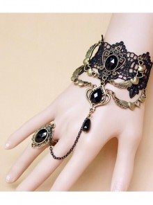 Black Lace Bronze Wings Bracelet Ring Gothic Jewelry