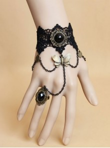 Black Lace Bronze Butterfly Gothic Bracelet Ring Jewelry