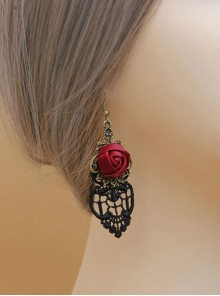 Black Lace Red Rose Gothic Earrings