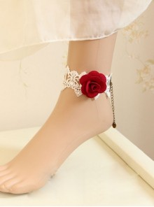 White Lace Red Rose Gothic Wedding Ankle Bracelet