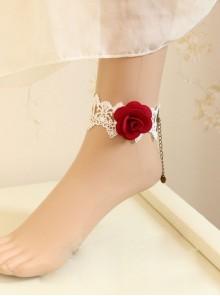 White Lace Red Rose Gothic Wedding Ankle Bracelet