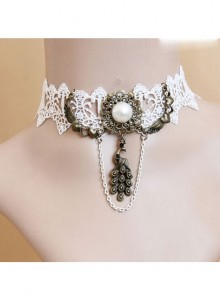 Peacock Pendant White Lace Gothic Necklace