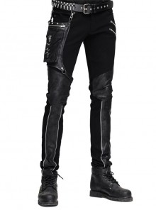 Steampunk Men's Trousers With Gear Rivet Small Bags
