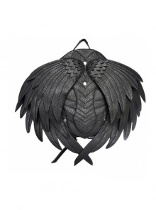 Black Leather Angle Wings Gothic Backpack