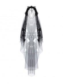 Romantic Bride Cross Pendant Gothic Black Veil