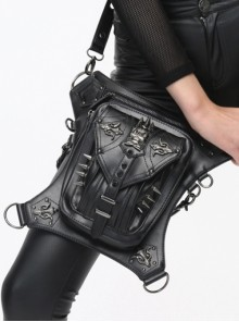 Punk Skull Rivet PU Black Gothic Waist Shoulder Messenger Bag