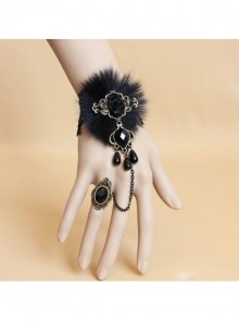 Black Lace Resin Diamond Gothic Lolita Bracelet Ring Jewelry