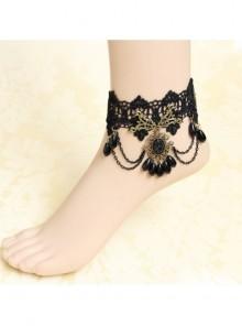 Retro Elegant Black Lace Gothic Ankle Bracelet