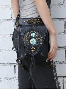 Steam Punk Rivet Black Women's Retro Shoulder Bag