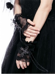 Gothic Black Lace Cross And Chain Women's Gloves
