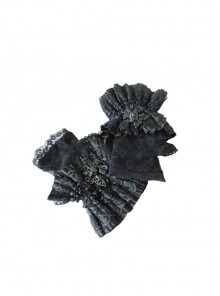 Gothic Butterfly Decoration Black Lace Short Gloves