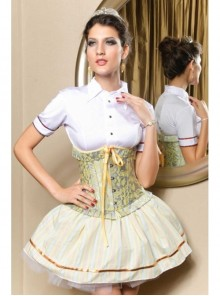Yellow Ribbon And Green Floral Pattern Victorian Underbust Corset