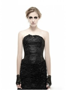 Black PU Leather Button Jacquard Gothic Corset