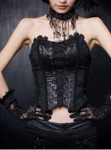 Phoenix Style Black Overlength Gauze Tail Gothic Croset