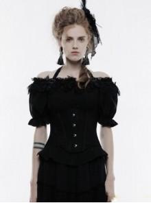 Black Lace Jacquard Halter Underbust Gothic Corset