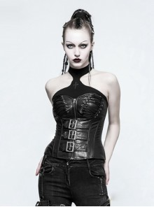 Punk Handsome Black Leather Gothic Corset