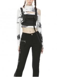 Casual Street Punk Tactics Black Super Short Vest