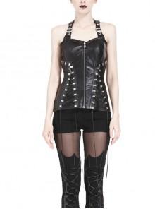 Metal Hole Side Rope Design Punk Black PU Leather Corset