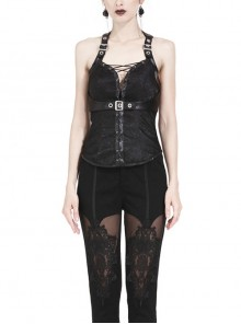 Decorative Pattern Lace-up Gothic Black Halter Corset