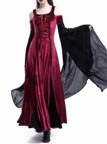 Medieval Velvet Off-the-Shoulder Wine Red Dress