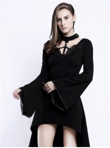 Steampunk Gothic Knitted Halterneck Black Flare Sleeve Medium Length Dress