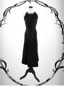 Gothic Round Collar Pearl Sleeveless And Backless Sexy Dress