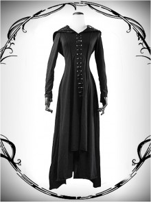 Nobleman Priestess Irregular Lower Hem Punk Gothic Hooded Dress