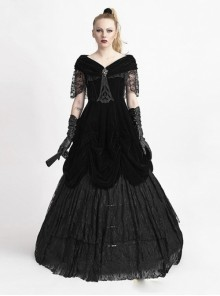Gothic Off-the-shoulder Black Lace And Velvet Victorian Dress