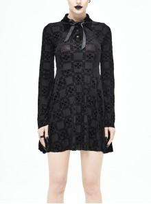 Black Bowknot Trumpet Sleeve Crucifix Printing Pleuche Gothic Long Sleeve Dress