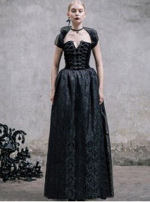 Black Slim Changeable Gothic Hanging Neck Type Backless Long Dress With Detachable Collar
