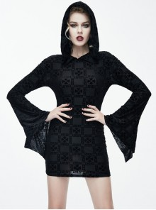 Black Hooded Trumpet Sleeve Crucifix Printing Gothic Long Sleeve Short Style Dress