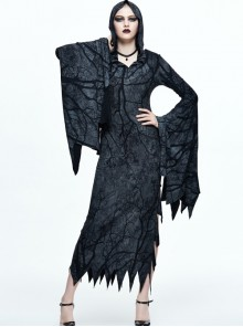 Black Hooded Halloween Bat Sleeve Tree Branch Printing Gothic Long Sleeve Long Style Vision Dress