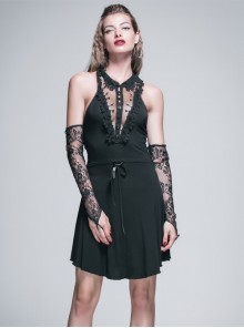 Black Sexy Knitted Lace Lapel Gothic Cotton Sleeveless Dress