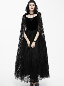 Black Slim Stitching Gothic Sling Long Dress With Rose Embroidery Cloak