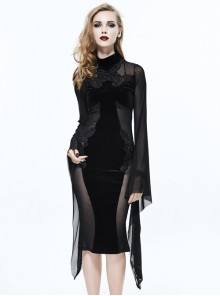 Black Sexy Slim Gothic Translucent Long Sleeve Dress