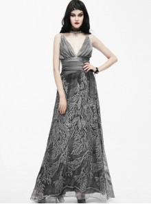 Silver Sexy V-collar Printing Gothic Sling Backless Dress