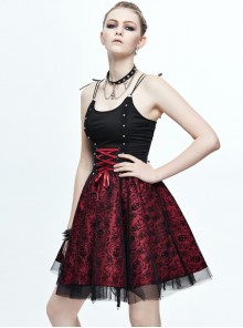 Wine Red Slim Skull Printing Gothic Sling Dress