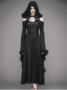 Black Gothic Slim Tassel Hooded Off Shoulder Long Sleeve Dress