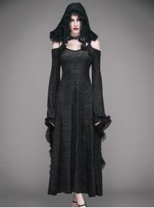Black Gothic Slim Tassel Hooded Off Shoulder Long Sleeve Dress