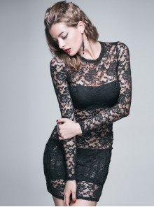 Black Rose Lace Embroidery Hollow out Sexy Gothic Long Sleeve Dress