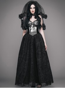 Black Halloween Sexy Graveyard Forest Printing Gothic Sling Dress