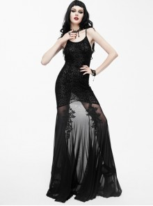 Black Slim Backless Sexy Sling Mermaid-tail Long Dress