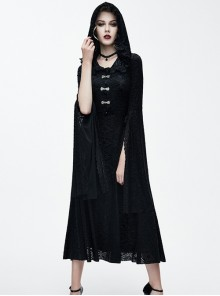 Black Lace Hooded Slim Retro Gothic Trumpet Sleeve Lace-up Dress