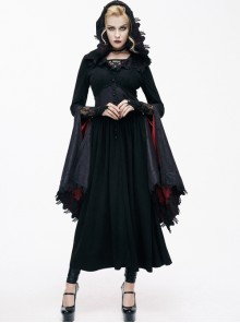 Black Lace Hooded Slim Gothic Trumpet Sleeve Witch Dress