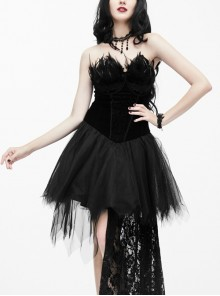 Black Sexy Feather Decoration Gothic Lace Tail Strapless Yarn Short Dress