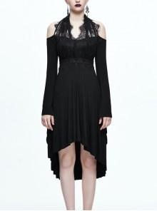 Black Eyelash-lace Collar Gothic Slim Backless Long Sleeve Dress